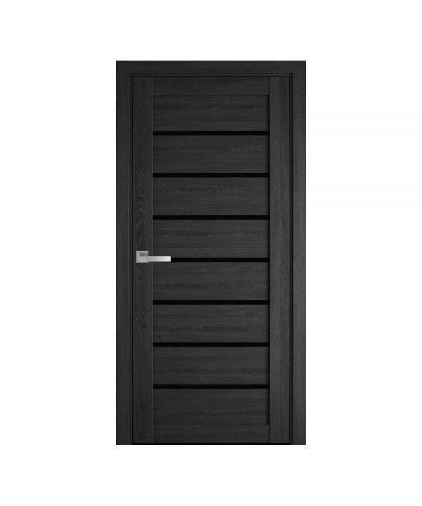Межкомнатные двери Леона ПВХ Ультра дуб серый С черным стеклом