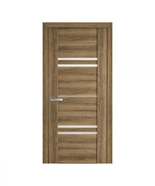 Межкомнатные двери Мерида ПВХ Viva бук шато со стеклом сатин
