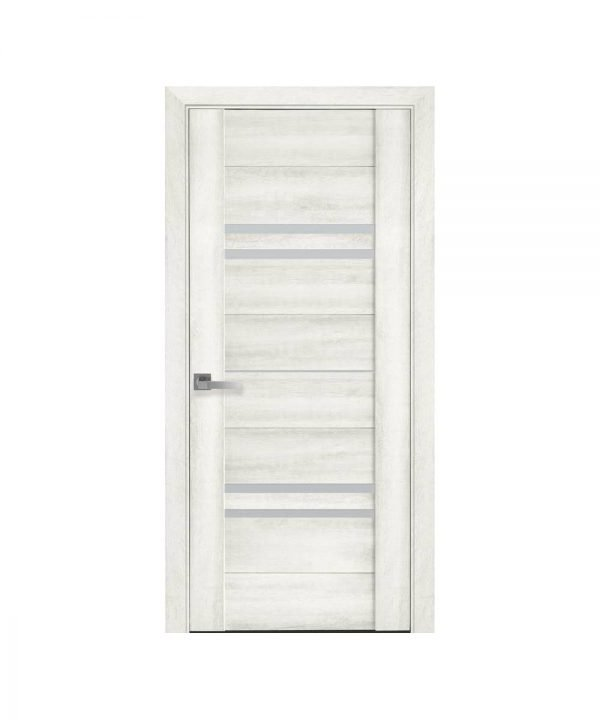 Межкомнатные двери Мерида ПВХ DeLuxe ясень new со стеклом сатин