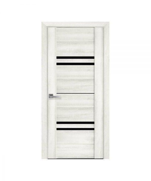 Межкомнатные двери Мерида ПВХ DeLuxe ясень new с графитовым стеклом