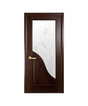 Межкомнатные двери Амата ПВХ DeLuxe венге new со стеклом сатин и рисунком Р2