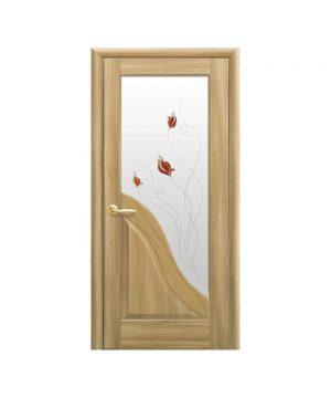 Межкомнатные двери Амата ПВХ DeLuxe золотой дуб со стеклом сатин и рисунком Р2