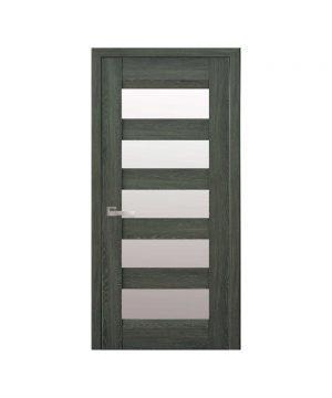 Межкомнатные двери Бронкс Нано Флекс дуб графит со стеклом сатин