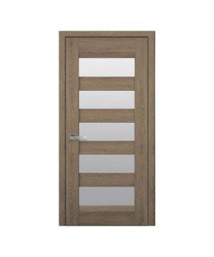 Межкомнатные двери Бронкс Нано Флекс дуб янтарный со стеклом сатин
