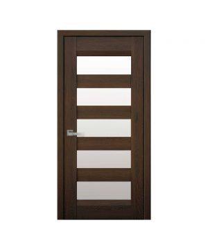 Межкомнатные двери Бронкс Нано Флекс дуб шоколадный со стеклом сатин