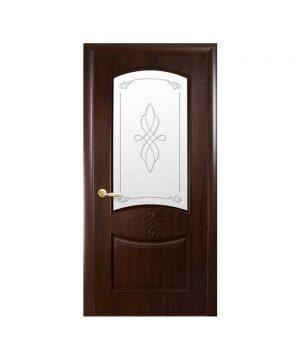 Межкомнатные двери Донна ПВХ DeLuxe каштан со стеклом сатин и рисунком Р1