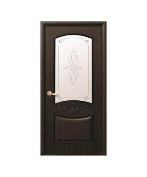 Межкомнатные двери Донна ПВХ DeLuxe венге new со стеклом сатин и рисунком Р1