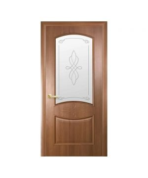 Межкомнатные двери Донна ПВХ DeLuxe золотая ольха со стеклом сатин и рисунком Р1