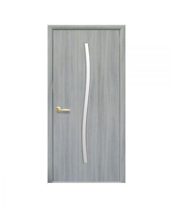 Межкомнатные двери Гармония Экошпон ясень патина со стеклом сатин