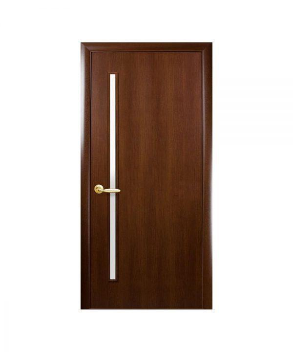 Межкомнатные двери Глория Экошпон орех 3d со стеклом сатин
