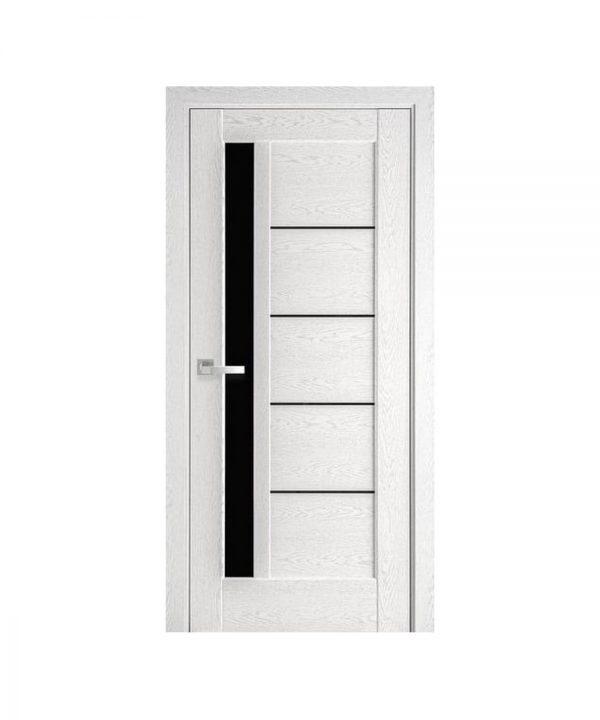 Межкомнатные двери Грета ПВХ DeLuxe патина серая С черным стеклом