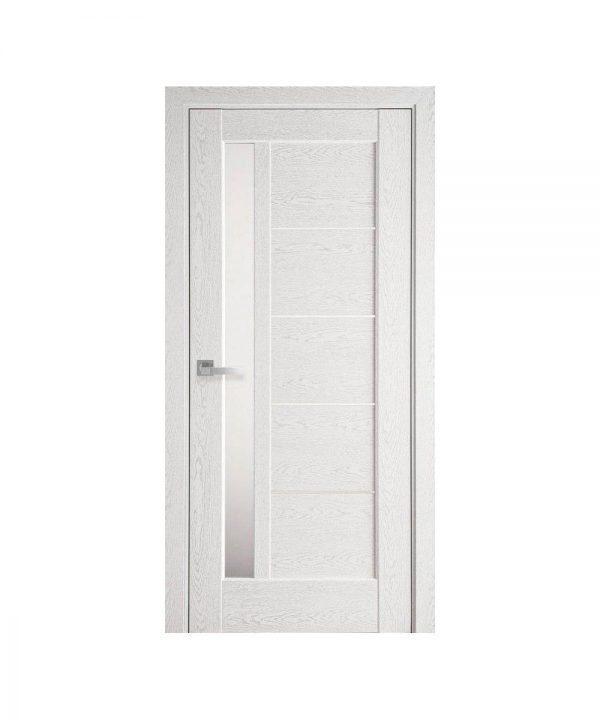 Межкомнатные двери Грета ПВХ DeLuxe патина серая со стеклом сатин