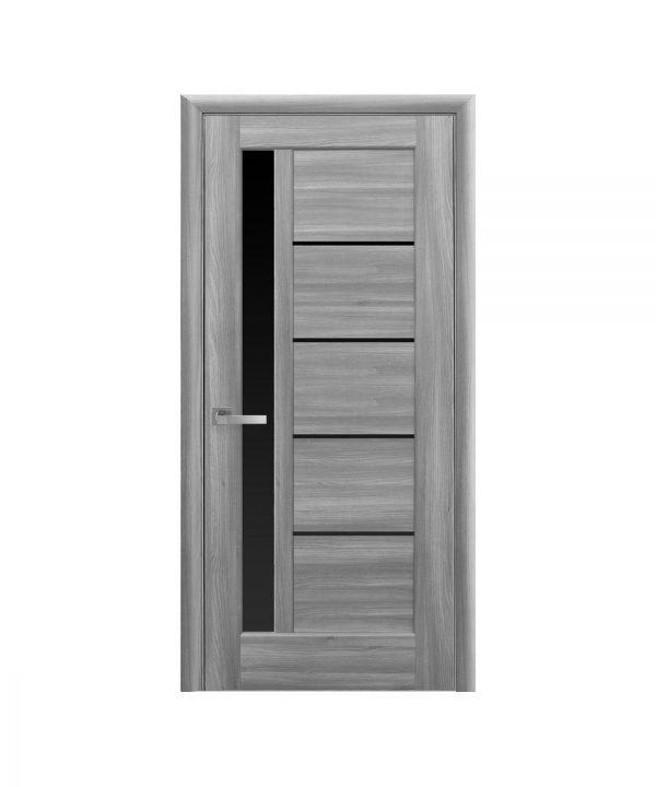 Межкомнатные двери Грета ПВХ DeLuxe бук пепельный С черным стеклом