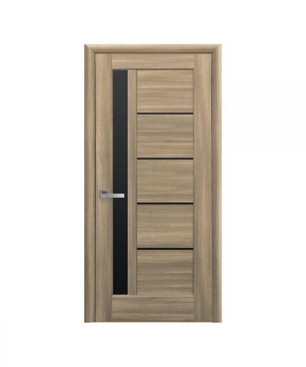 Межкомнатные двери Грета ПВХ DeLuxe золотой дуб С черным стеклом