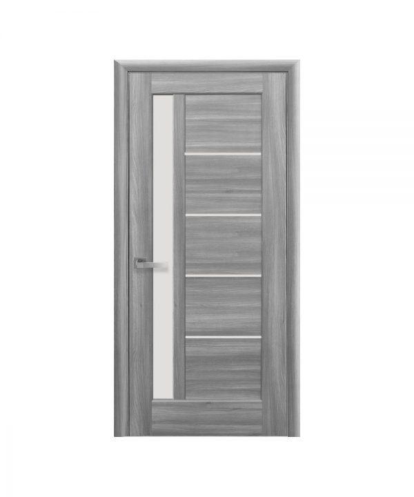 Межкомнатные двери Грета ПВХ DeLuxe бук пепельный со стеклом сатин