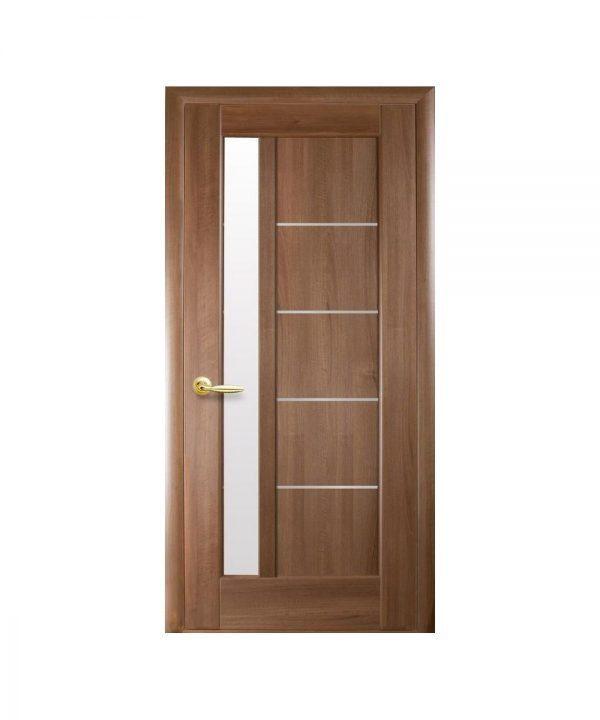 Межкомнатные двери Грета ПВХ DeLuxe золотая ольха со стеклом сатин
