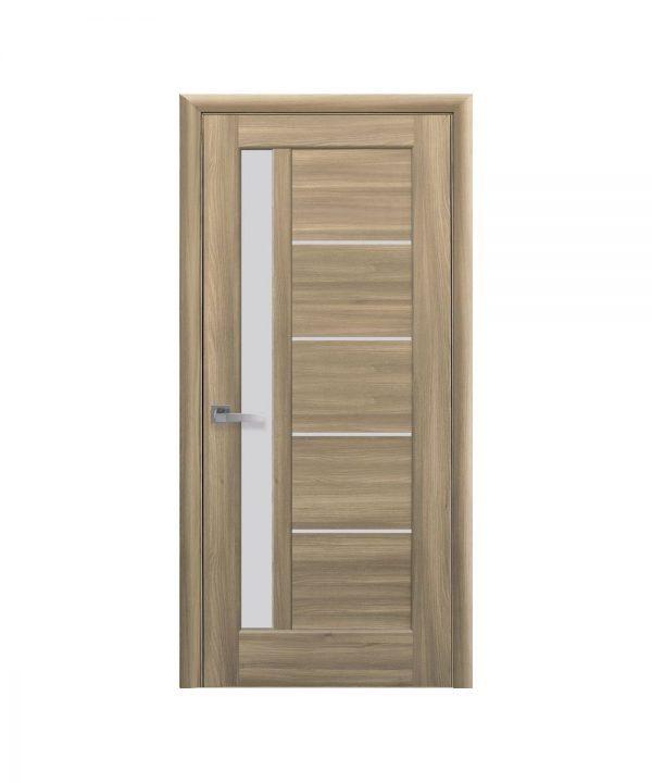 Межкомнатные двери Грета ПВХ DeLuxe золотой дуб со стеклом сатин