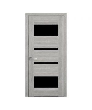 Межкомнатные двери Ибица Нано Флекс дуб сицилия С черным стеклом