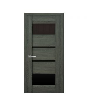 Межкомнатные двери Ибица Нано Флекс дуб графит С черным стеклом