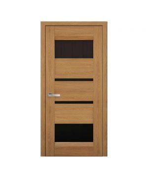 Межкомнатные двери Ибица Нано Флекс дуб янтарный С черным стеклом