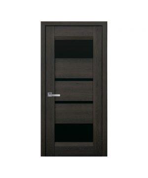 Межкомнатные двери Ибица Нано Флекс дуб шоколадный С черным стеклом