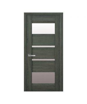 Межкомнатные двери Ибица Нано Флекс дуб графит со стеклом сатин