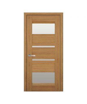 Межкомнатные двери Ибица Нано Флекс дуб янтарный со стеклом сатин