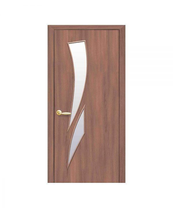 Межкомнатные двери Камея Экошпон ольха 3d со стеклом сатин