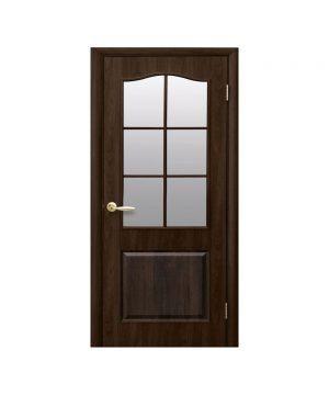 Межкомнатные двери Классик ПВХ DeLuxe орех premium со стеклом сатин