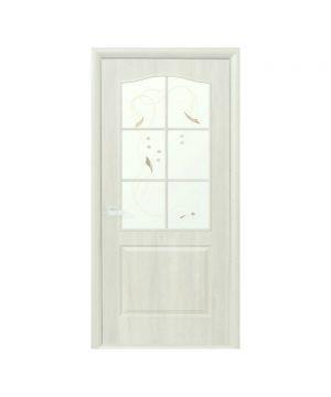 Межкомнатные двери Классик ПВХ DeLuxe патина со стеклом сатин