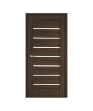 Межкомнатные двери Леона Экошпон орех 3d со стеклом сатин