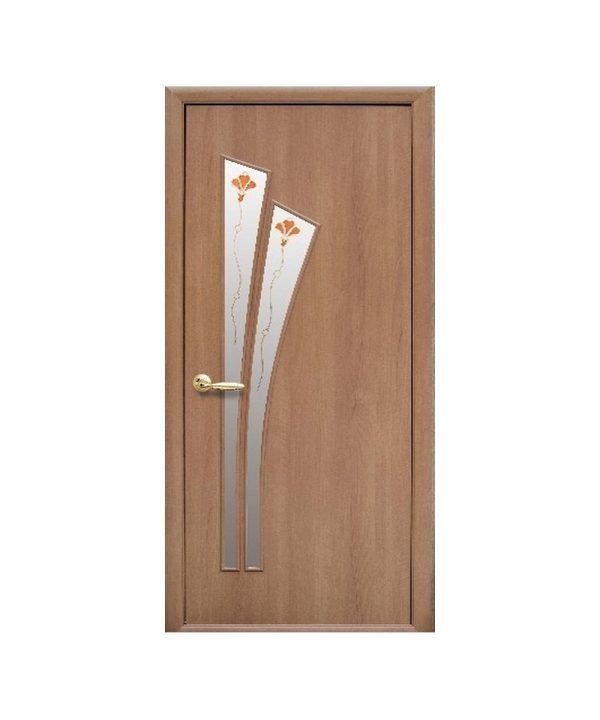 Межкомнатные двери Лилия Экошпон ольха 3d со стеклом сатин