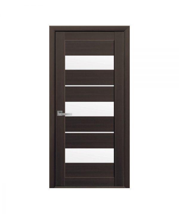 Межкомнатные двери Лилу Экошпон орех 3d со стеклом сатин