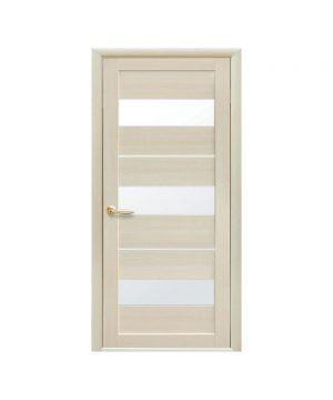Межкомнатные двери Лилу Экошпон дуб жемчужный со стеклом сатин