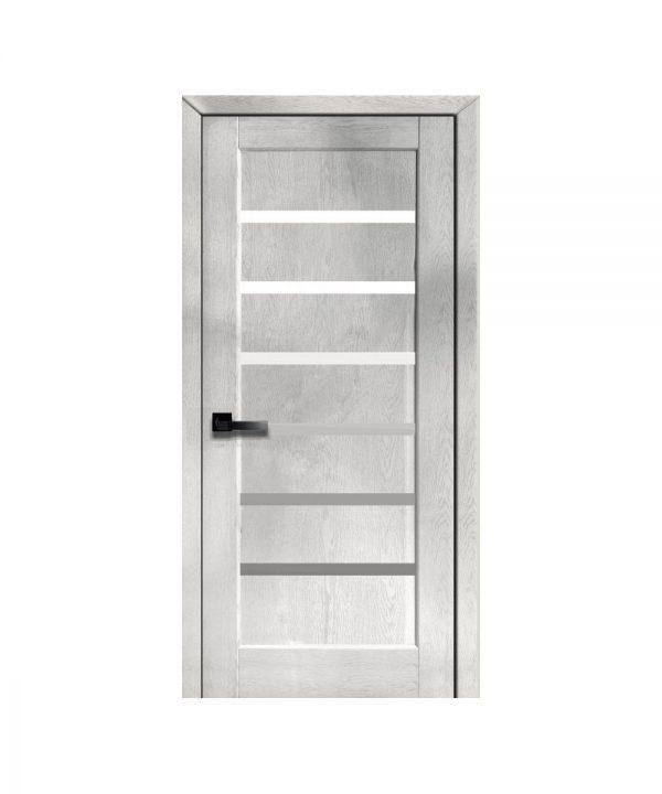 Межкомнатные двери Линнея ПВХ DeLuxe патина серая со стеклом сатин