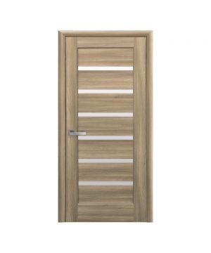 Межкомнатные двери Линнея ПВХ DeLuxe золотой дуб со стеклом сатин
