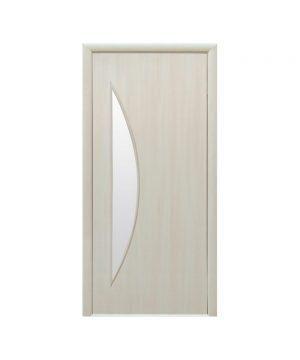 Межкомнатные двери Луна Экошпон дуб жемчужный со стеклом сатин