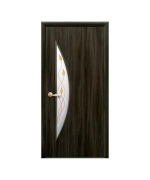 Межкомнатные двери Луна Экошпон кедр со стеклом сатин