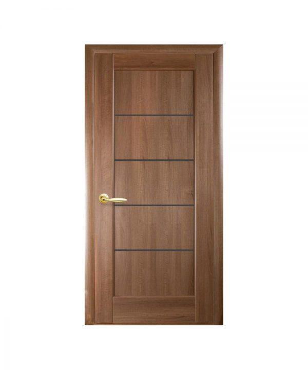 Межкомнатные двери Мира ПВХ DeLuxe золотая ольха С черным стеклом