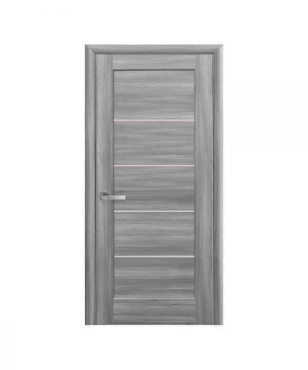 Межкомнатные двери Мира ПВХ DeLuxe бук пепельный со стеклом сатин