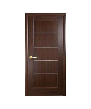 Межкомнатные двери Мира ПВХ DeLuxe каштан со стеклом сатин