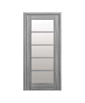 Межкомнатные двери Муза ПВХ DeLuxe бук пепельный со стеклом сатин
