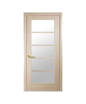Межкомнатные двери Муза ПВХ DeLuxe ясень new со стеклом сатин