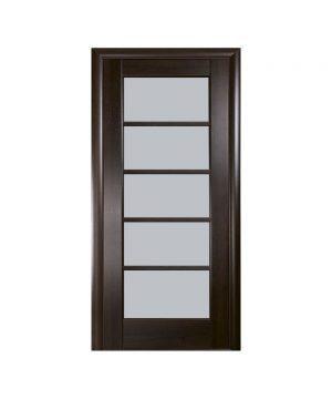 Межкомнатные двери Муза ПВХ DeLuxe каштан со стеклом сатин