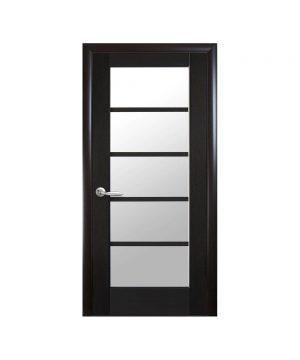 Межкомнатные двери Муза ПВХ DeLuxe венге new со стеклом сатин