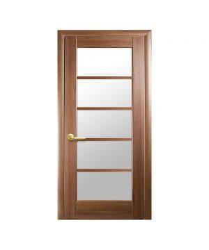 Межкомнатные двери Муза ПВХ DeLuxe золотая ольха со стеклом сатин
