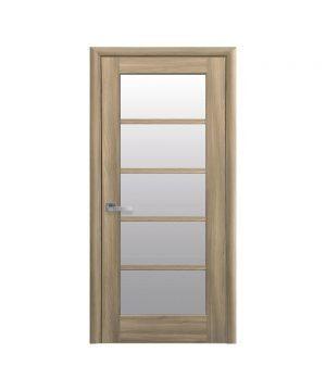 Межкомнатные двери Муза ПВХ DeLuxe золотой дуб со стеклом сатин