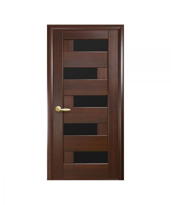 Межкомнатные двери Пиана ПВХ DeLuxe каштан С черным стеклом