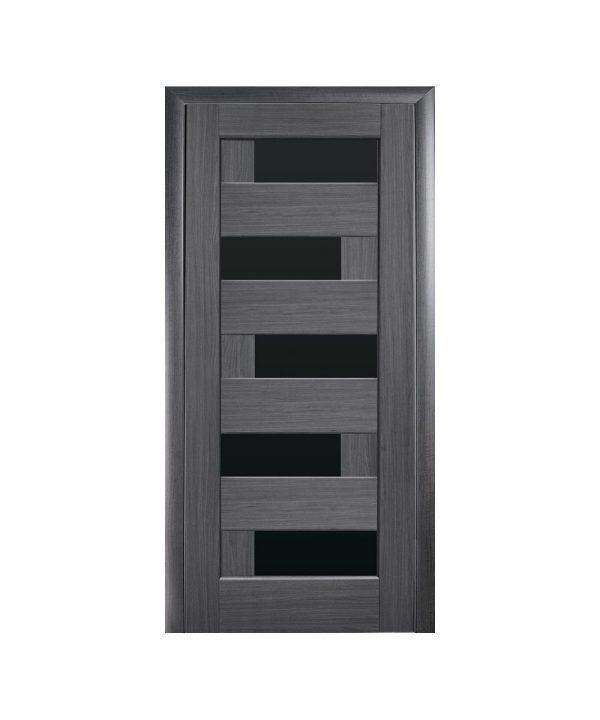 Межкомнатные двери Пиана ПВХ DeLuxe grey new С черным стеклом
