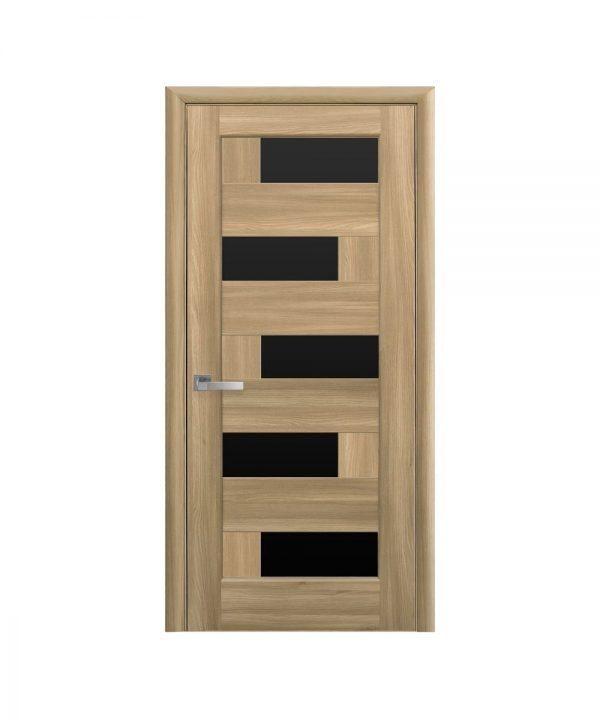 Межкомнатные двери Пиана ПВХ DeLuxe золотой дуб С черным стеклом